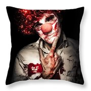 Evil Blood Stained Clown Contemplating Homicide Throw Pillow