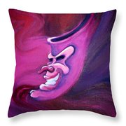 Evil Carnival Jester Mask Throw Pillow