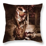 Evil Clown Musing With Scary Expression Throw Pillow