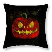 Evil Halloween Pumpkin Throw Pillow