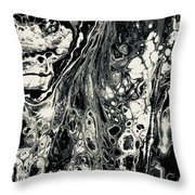Evil In Black And White Throw Pillow