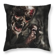 Evil Male Zombie Screaming Out In Bloody Fear Throw Pillow