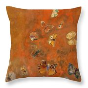 Evocation Of Butterflies Throw Pillow by Odilon Redon