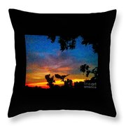 Exagerated Sunset Painting Throw Pillow