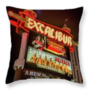 Excalibur Casino Sign Night Throw Pillow