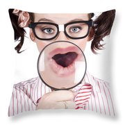 Excited Nerd Girl With A Big Idea Throw Pillow