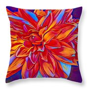 Exciting Red Dahlia Throw Pillow