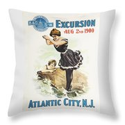 Excursion To Atlantic City New Jersey Throw Pillow