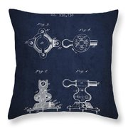 Exercise Machine Patent From 1879 - Navy Blue Throw Pillow