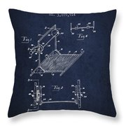 Exercise Machine Patent From 1961 - Navy Blue Throw Pillow