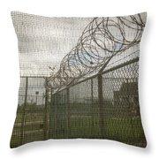 Exercise Yard Through Window In Prison Throw Pillow