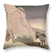 Exiled Buddhist Cleric Nichiren In The Snow Throw Pillow