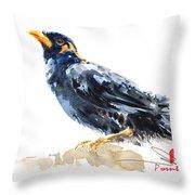Myna Bird From Thailand Throw Pillow