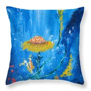 Exotic Colorful Flowers Abstract Composition Throw Pillow