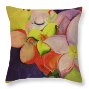 Exotic Flowers From The Islands Throw Pillow