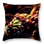 Exotic Fruit Platter Throw Pillow