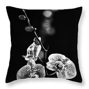 Exotic Orchid Bw Throw Pillow