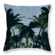 Exotic Palm Trees Silhouettes Water Color Throw Pillow