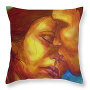 Expected Kisses Throw Pillow