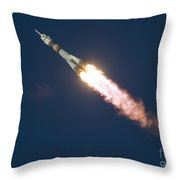 Expedition 46 Soyuz Launch To The Iss Throw Pillow