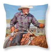 Experienced Cowboy Throw Pillow