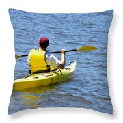 Exploring In A Kayak Throw Pillow