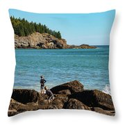 Exploring Rocks At Sand Beach Throw Pillow