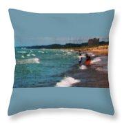 Exploring The Beach Throw Pillow