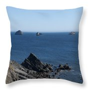 Exposed Offshore Rocks Throw Pillow