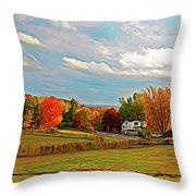 Expressionalism Autumn Farm Throw Pillow