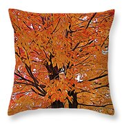 Expressionalism Golden Tree Throw Pillow