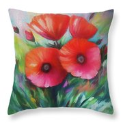 Expressionist Poppies Throw Pillow