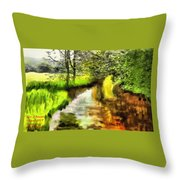 Expressionist Riverside Scene L A Throw Pillow