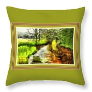 Expressionist Riverside Scene L A With Alt. Decorative Printed Frame. Throw Pillow