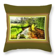 Expressionist Riverside Scene L A With Decorative Ornate Printed Frame Throw Pillow