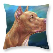 Expressive Painting Of A Red Nose Pit Bull On Blue Background Throw Pillow