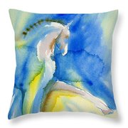 Extended Trot In Blue Throw Pillow