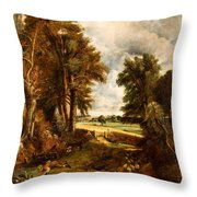 Extensive Landscape With Boy Drinking Water Throw Pillow