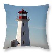 Exterior Of Peggys Cove Lighthouse, Nova Scotia, Canada Throw Pillow