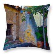 Exterior Wall Of Serra Chapel Mission San Juan Capistrano California Throw Pillow