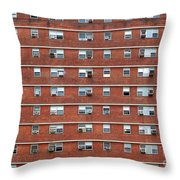 External Facade With Many Windows All Identical. Throw Pillow