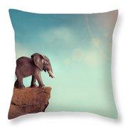 Extinction Concept Elephant Family On Edge Of Cliff Throw Pillow