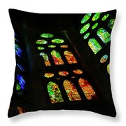 Exuberant Stained Glass Windows Throw Pillow