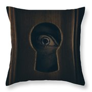 Eye Looking Through Door Keyhole Throw Pillow