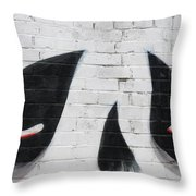 Eyes And Nose On A Wall Throw Pillow