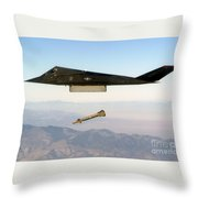 F 117 Nighthawk Engages Its Target And Drops A Gbu 28 Guided Bomb Throw Pillow