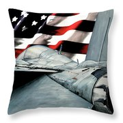 F-14 And Flag Throw Pillow