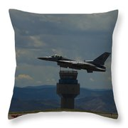F-16 And Tower Throw Pillow