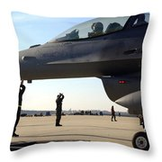 F-16 Fighting Falcons Parked Throw Pillow by Stocktrek Images