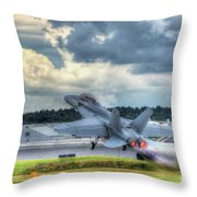 F-18 Hornet Takeoff Throw Pillow